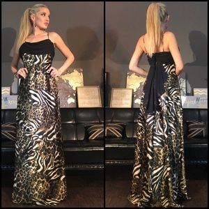 Leopard Floor Length Back Black Drape Prom Dress